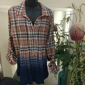 Vintage America Ombre Plaid Tunic Top
